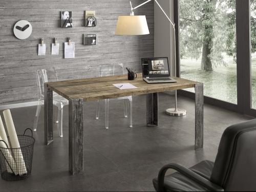 Tavolo Moderno E Sedie Antiche.Tavolo Moderno In Legno Antico E Metallo Per Cucina Studio Sala