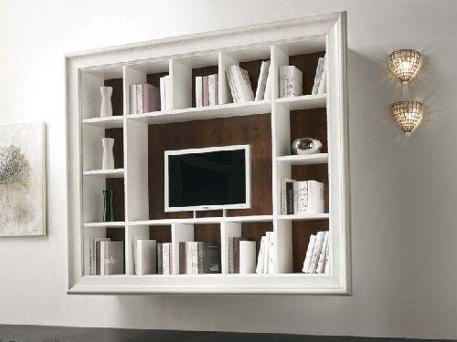 Parete attrezzata con cornice libreria e porta tv ebay for Parete colorata soggiorno
