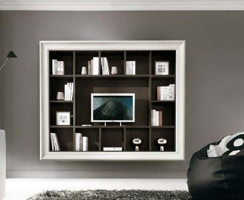 Pareti Attrezzate Con Cornice.Dettagli Su Parete Attrezzata Con Cornice Libreria E Porta Tv