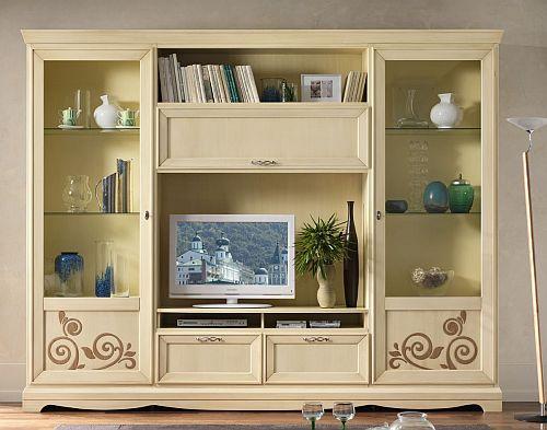 Parete attrezzata ok come vetrina libreria e porta tv ebay for Mobili tv mercatone uno